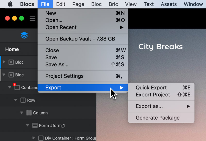 export-options